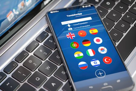 Foreign languages translation or learning languages online. Mobile phone or smartphone with dictionary app on the screen. 3d illustration