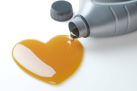 Motor oil canister with a drop of motor oil in the form of heart. 3d illustration