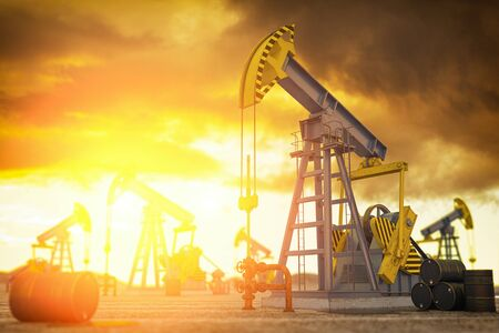 Oil pump jack and oil barrels. Oil production and extraction concept. 3d illustration