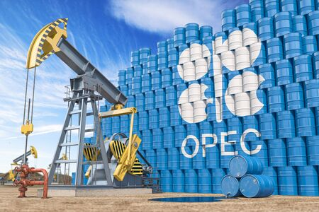 OPEC  Organization of the Petroleum Exporting Countries. Oil pump jack and oil barrels with OPEC flag. 3d illustration Stock Photo