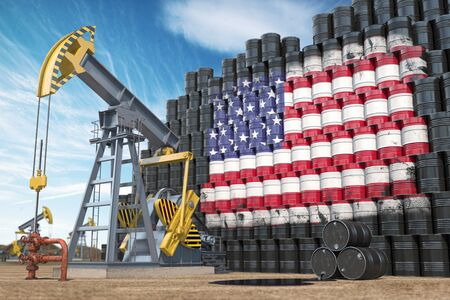 Oil production and extraction in USA. Oil pump jack and oil barrels with United States flag. 3d illustration Stock Photo
