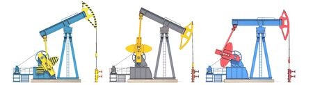 Oil pump jack isolated on white Stock Photo