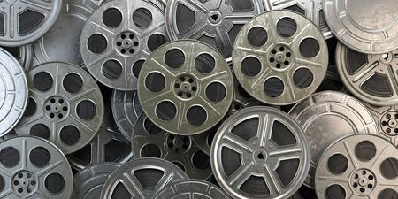 Film reels and cans Stock Photo