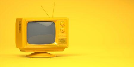 Yellow vintage tv set on yellow background. 3d illustration