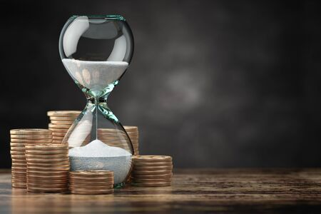 Golden coins and hourglass clock. Return on investment, deposit, growth of income and savings, time is money concept. 3d illustration
