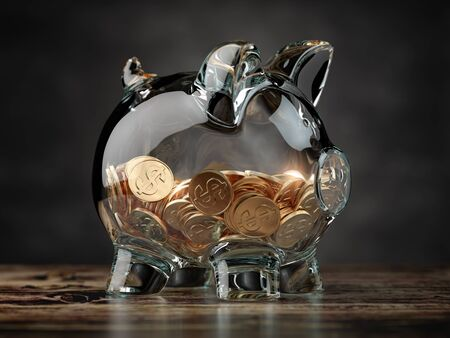 Piggy bank with golden coins. Financial investment, savings and family budget concept background. 3d illustration