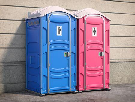 Portable plastic toilet or public facilities on the street. 3d illustration