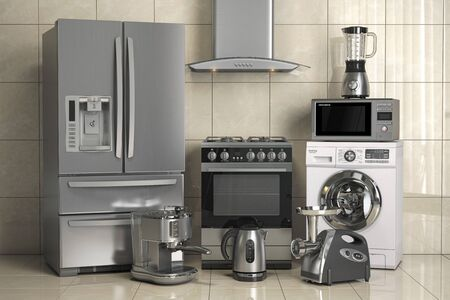 Set of home kitchen appliances on the wall background. Household kitchen technics. 3d illustration Imagens