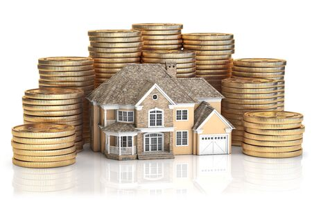 Saving money for buy a house for family. Real estate investments and mortgage concept. House and stack of coins. 3d illustration