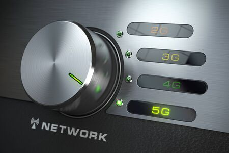 Switch knob with different telecommunication standards in mobile network Фото со стока