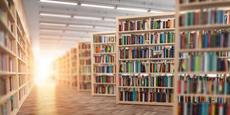 Library. Bookshelves with books and textbooks. Learning and education concept. 3d illustration Standard-Bild