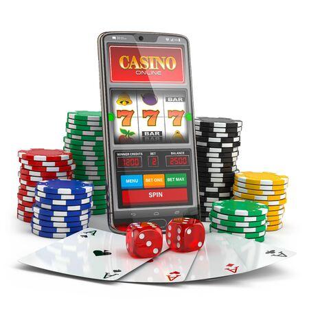 Online Casino. Spielautomat auf Smartphone-Bildschirm, Würfel, Casino-Chips und Karten. 3D-Darstellung