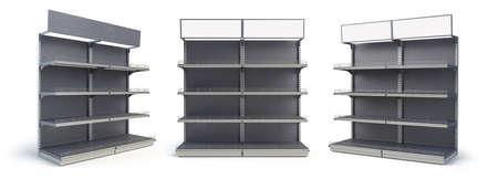 Black empty supermarket or store shelf isolated on a white background. Retail shelf rack. Mock up template. 3d illustration