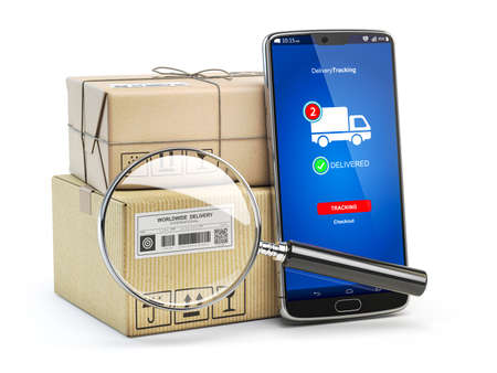 Smartphone with cardboard boxes and loupe isolated on white background. Logistics, delivery and online order tracking concept. 3d illustration