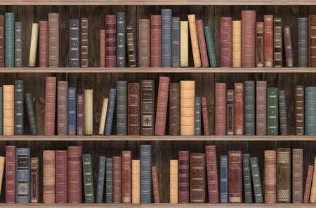 Vintage books on old wooden shelf. Old library or antique bookshop. Tiled seamless texture, wallpaper or background. 3d illustration Imagens