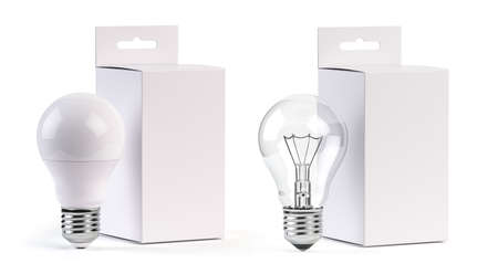 Electric light bulbs LED and incandescent with blank paper box isolated on white. Mock up 3d illustration Фото со стока