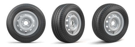 Set of car wheels with tires for vans and trucks isolated on white background. 3d illustration 版權商用圖片