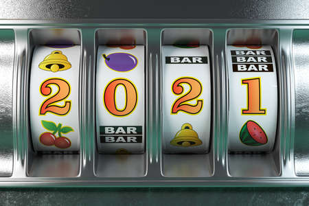 2021 Happy New Year in casino. Slot machine with jackpot number 2021.3d illustration Stockfoto