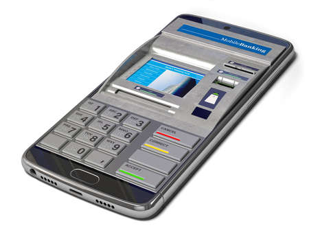 Mobile banking, online payments and digital financial services concept. Smartphone with ATM on screen. 3d illustration