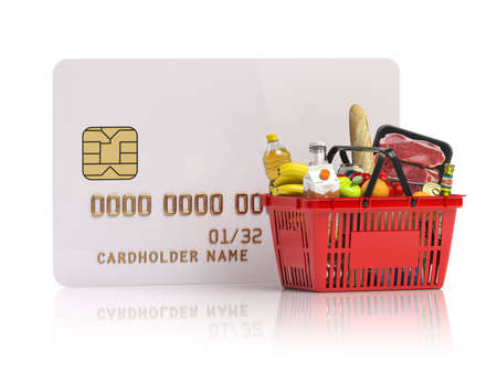 Paying for shopping basket full of grocery products with credit card. Online food ordering and delivery service concept. 3d illustration