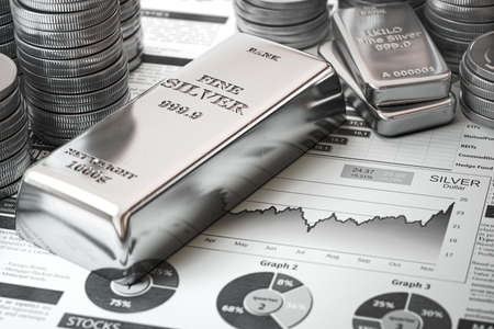 Silver bar, ingots and coins on financial report. Growth of silver on stock market concept. 3d illustration Фото со стока