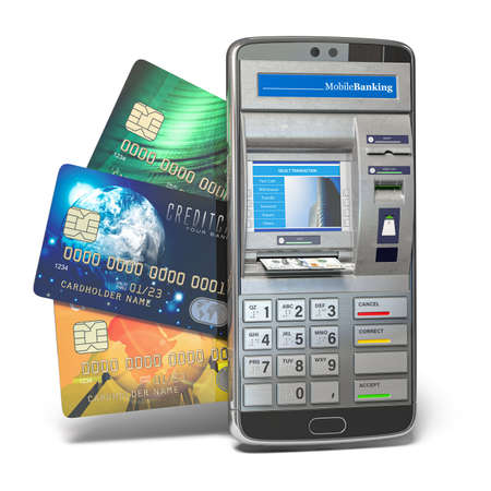 Mobile online banking and payment concept. Smart phone as ATM.