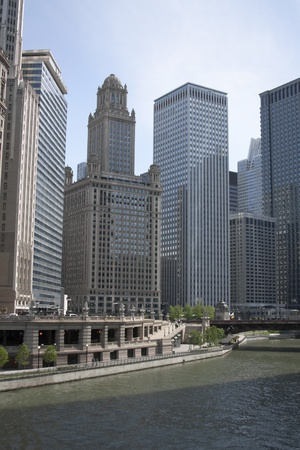 View of skyscrapers and the river in downtown Chicago photo