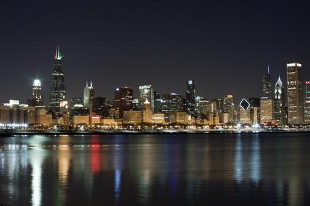 Chicago at night Stock Photo - 8741294