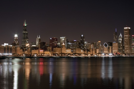 Chicago at night Stock Photo - 8741276