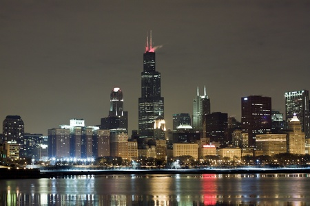 the sears tower: Chicago at Night Stock Photo