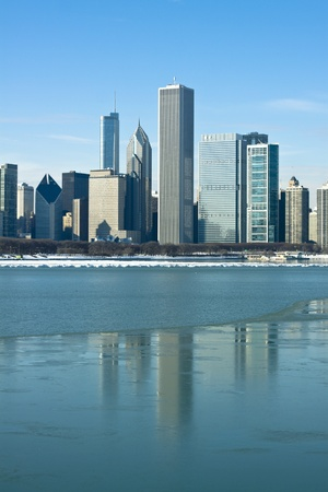 commercial real estate: Sunset at cold day in Chicago Stock Photo