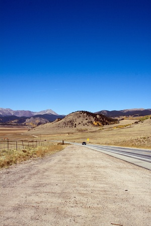 The road with beautiful views in Colorado. photo