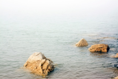 mirk: Shore in the fog Stock Photo