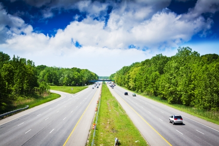 Stormachtige lucht op Amerikaanse tol manier Stockfoto