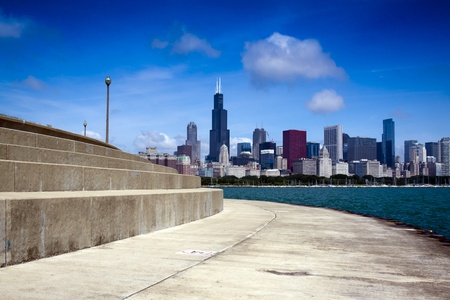 bulwark: bicycle path with downtown chicago in background