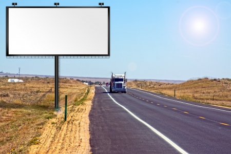 truck driver: Big Billboard on the interstate road  Stock Photo
