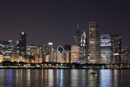 chicago skyline: Night View at Downtown Chicago and lake Michigan  Stock Photo