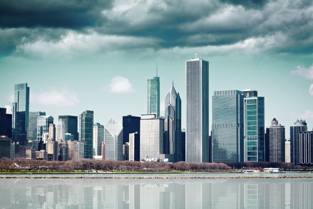 commercial real estate: Dark Clouds on Finance District  Stock Photo