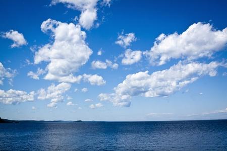 Blue Sky with big lake photo