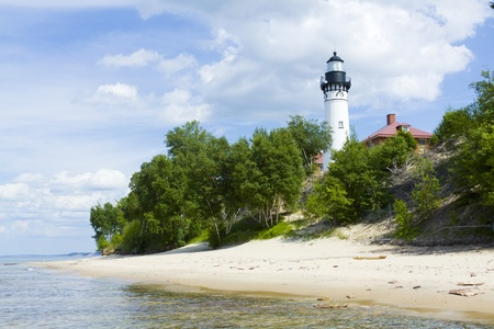 michigan: Tall White Lighthouse With Blue Sky