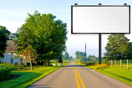 the road surface: Billboard on American Country Road