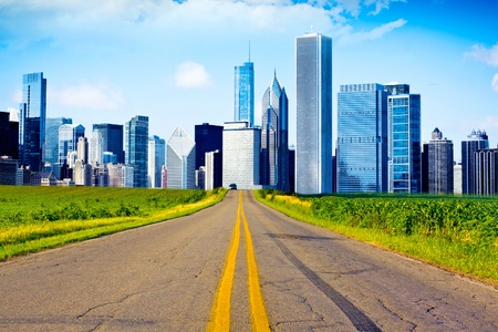 American Country Road with City on the Horizont Stock Photo - 10751026