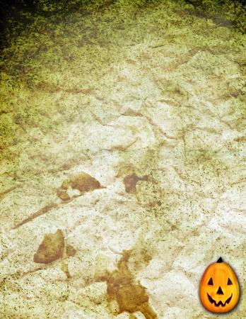 Halloween-achtergrond met beeldverhaalpompoen Stockfoto