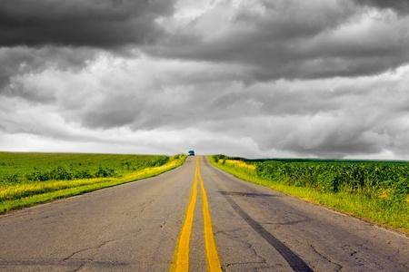 stormy sky: Dark Stormy Sky on Iowa Interstate