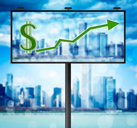 Billboard with stock market diagram