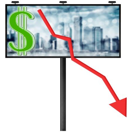 Billboard with stock market diagram (isolated illustration) Фото со стока