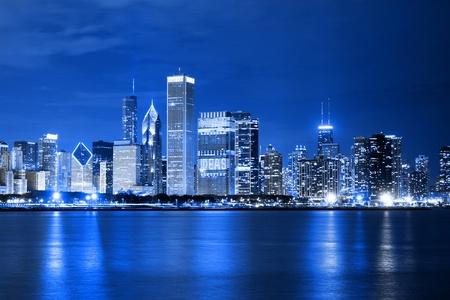Chmury na dzielnicy finansowej (wglÄ…d nocy Chicago) Zdjęcie Seryjne