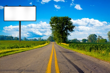 the road surface: Illustration: Big Tall Billboard on road  Stock Photo