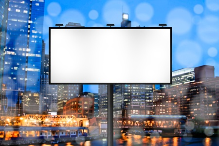city skyline night: Billboard with Night City Background