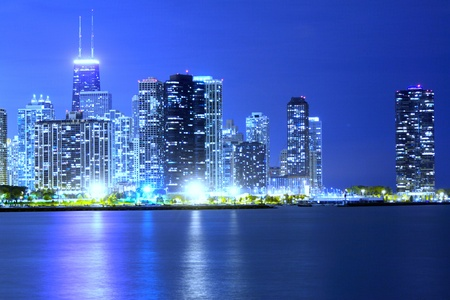 Clouds at financial district (night view Chicago)